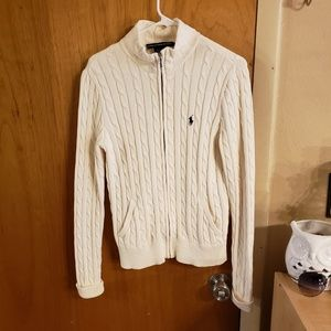 Ralph Lauren sport cable knit zip front cardigan